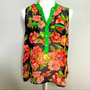 Chord Sleeveless Floral Sheer Blouse Top Size M